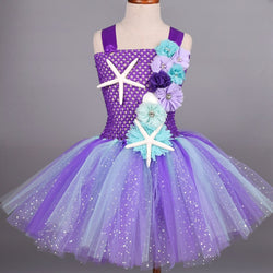 Glitter Purple Princess Ariel Mermaid Tutu Dress With Headband Sets Baby Birthday Party Starfish Floral Tulle Dress Cosplay Clothes