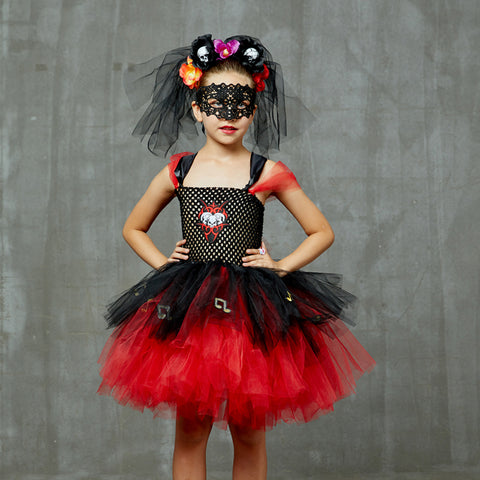 Girls Day Of The Dead Tutu Dress - Kids Zombie Bride Halloween Costume - Tutu-Dresses.com