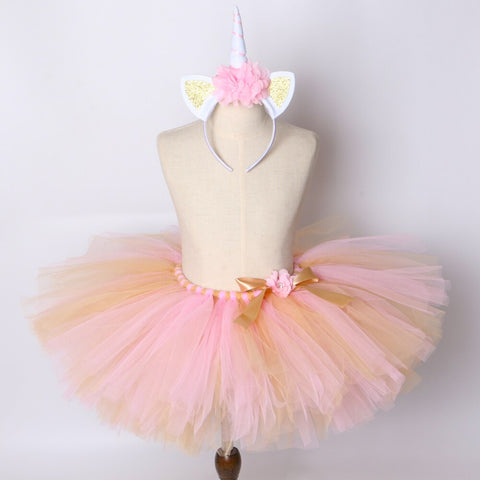 Girls Baby Pink & Gold Unicorn Inspired Tutu Skirt and Unicorn Horn Headband - Tutu-Dresses.com
