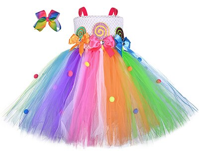 Girls Fairy Candy Lollipop Tutu Dress With Hairband Children Kids Rainbow Colorful Sweet Birthday Halloween Holidays Costume - Tutu-Dresses.com