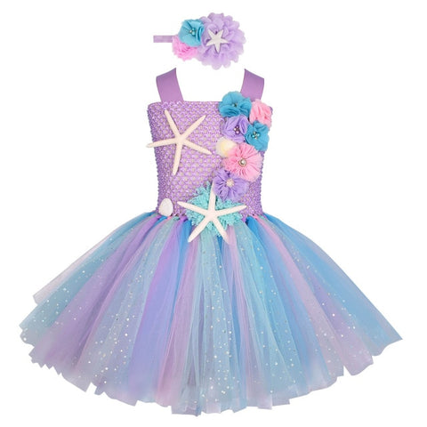 Girls Pastel Mermaid Tutu Dress Under the Sea Theme Birthday Party Costume with Flower Headband Ocean Flower Dresses 1-12Y - Tutu-Dresses.com