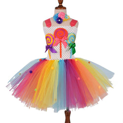 Girls Candy Tutu Dress Kids Candy Lollipop Birthday Party Tulle Dresses Kids Colorful Dress Halloween Costume - Tutu-Dresses.com