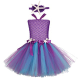 Purple Mermaid Tutu Dress Starfish Headband Girls Princess Dress Under The Sea Birthday Tutu Outfit Kids Halloween Costume 0-12Y - Tutu-Dresses.com