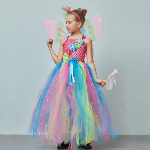 Girls Rainbow Butterfly Tutu Dress with Wings and Headband -  Fairy Princess Costume - Tutu-Dresses.com