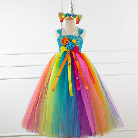 Flower Girls Unicorn Tutu Dress Pastel Rainbow Princess Girls Birthday Party Dress Children Kids Halloween Unicorn Costume 1-12Y - Tutu-Dresses.com