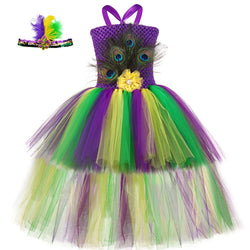 Girls Peacock Feathers Tutu Dress with Tail - Kids Carnival Peacock Costume - Tutu-Dresses.com