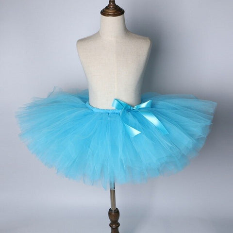 Turquoise Blue Flower Girls Tutu Skirt - Ballet Dance Tutu Birthday Party Outfit - Tutu-Dresses.com