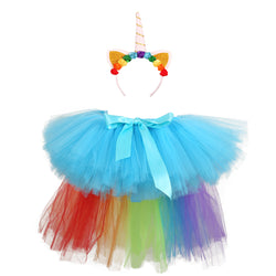 Kids Rainbow Unicorn Tutu Skirt and Headband - Girls Birthday Party Unicorn Outfit (Other Colours Available) - Tutu-Dresses.com