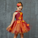 Girls Autumn Leaves Tutu Dress - Kids Autumn Fairy Costume - Tutu-Dresses.com