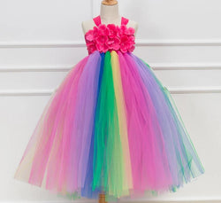 Girls Pink Tutu Dress Handmade Flower Girl Dress Party Dresses Princess Ball Gown Boutique Fairy Fancy DRess - Tutu-Dresses.com