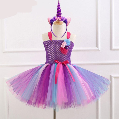 Unicorn Dress Fancy Rainbow Princess Unicorn Hairband Headband Halloween Costume Kids Birthday Party Dress - Tutu-Dresses.com