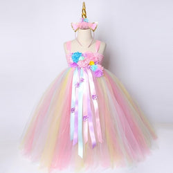 Girls Unicorn Tutu Dress Pastel Rainbow Princess Flower Girl Party Dresses Children Kids Birthday Halloween Unicorn Costume 1-14 - Tutu-Dresses.com
