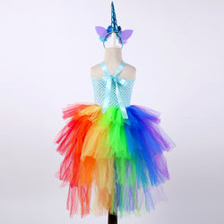 Rainbow Princess Girls Tutu Dress Fancy Train Unicorn Dress Children Girl Halloween Costume Kids Birthday Party Dress Up 1-14Y - Tutu-Dresses.com