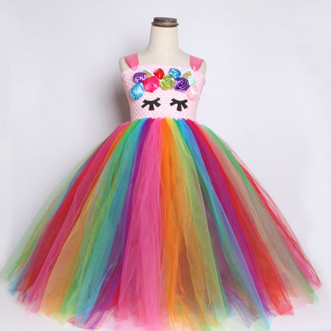 Bright Rainbow Unicorn Tutu Dress Princess Flower Girl Birthday Party Dresses Kids Girls Halloween Unicorn Costume Clothes 1-14Y - Tutu-Dresses.com
