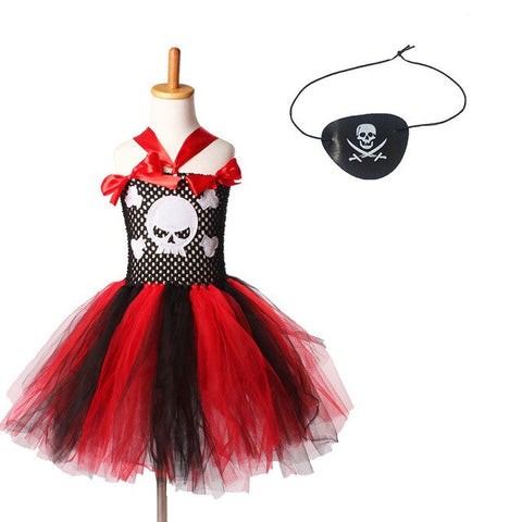 Pirate Girls Tutu Dress Kids Halloween Theme Pageant Wear Skull Embellishment Children Tulle Party Photo Costume - Tutu-Dresses.com