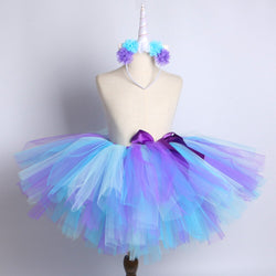 Blue & Purple Unicorn Tutu Skirt with Headband - Ballet Dance Tutu Birthday Party Outfit - Tutu-Dresses.com
