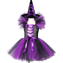Purple Black Girls Witch Tutu Dress with Hat Kids Halloween Cosplay Witch Costume Clothes Tulle Fancy Girls Carnival Party Dress
