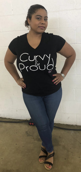woman wearing curvy & proud v-neck t-shirt in black with white font
