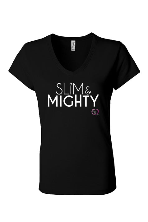 women's v-neck short sleeve t-shirt in black with slim & mighty in white on front