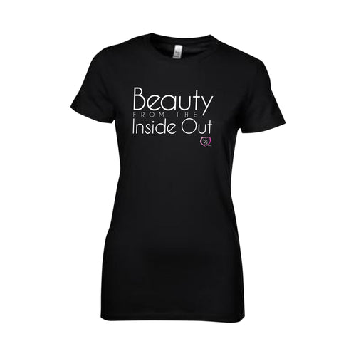 black short sleeve women's t-shirt with beauty from the inside out in white on front
