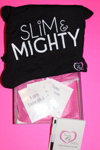 loving me tees love box with slim & mighty t-shirt, journal and affirmations cards