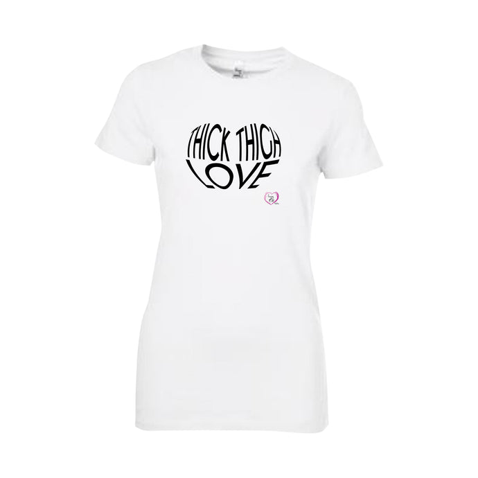 white short sleeve women's t-shirt with thick thigh love in black on front