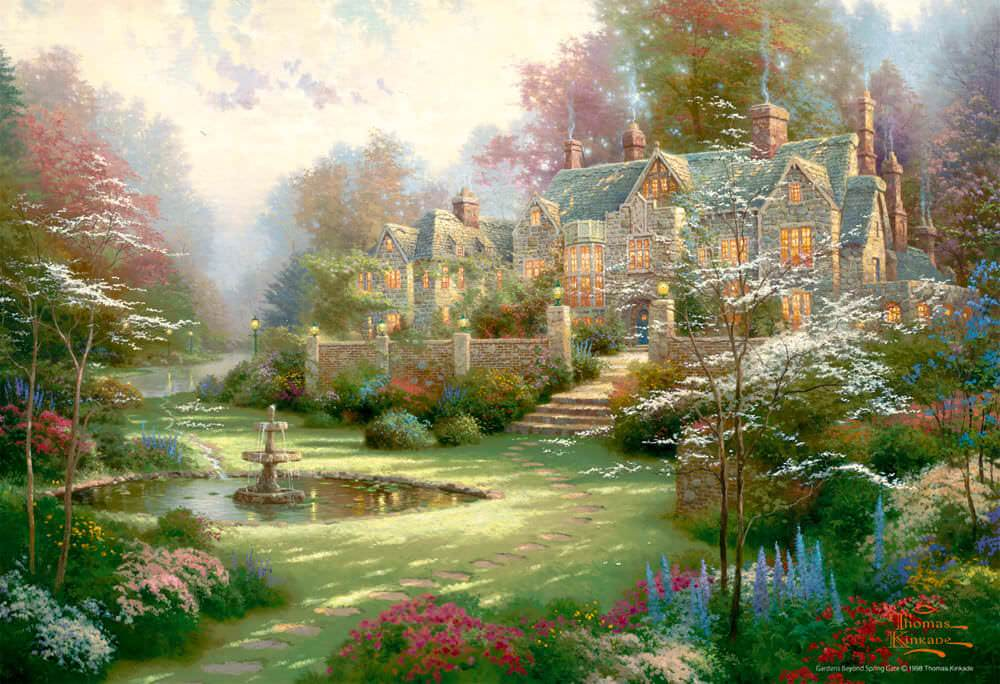 BEV-M81-822 Beverly • Thomas Kinkade • Gardens Beyond Spring Gate 1000 Pieces Jigsaw Puzzle