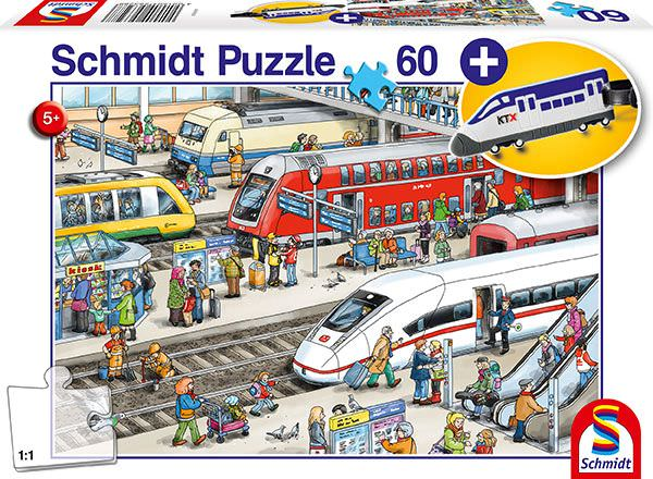 SCH-56328 Schmidt • Vehicle • At the Train Station 60 Pieces Jigsaw Puzzle