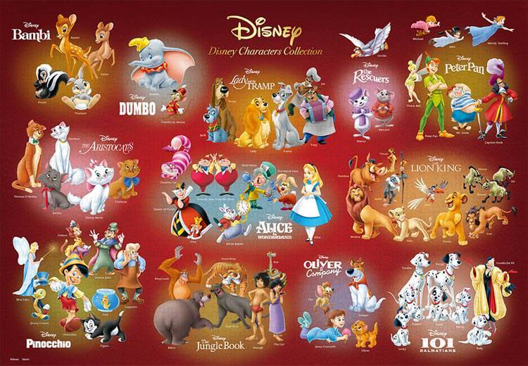 TEN-D-1000-066 Tenyo • Disney Characters Collection 1000 Pieces Jigsaw Puzzle