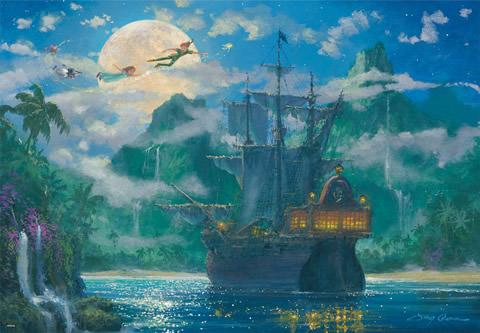 TEN-D-1000-416 Tenyo • Peter Pan • Moonrise Over Pirates Cove 1000 Pieces Jigsaw Puzzle