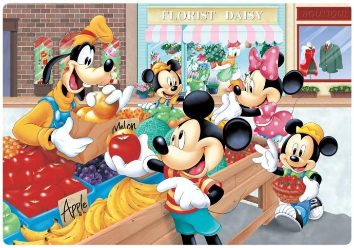 TEN-DC-80-053 Tenyo • Mickey & Friends • Fruit Stand 80 Pieces Jigsaw Puzzle