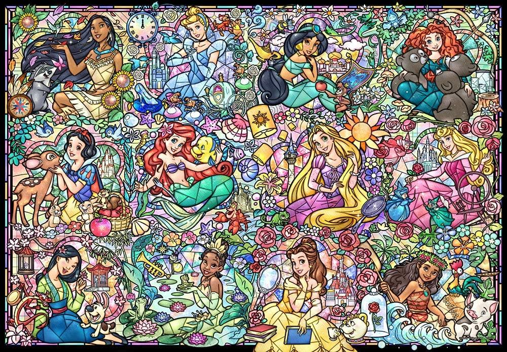 TEN-DS-1000-776 Tenyo • Disney Princess Collection Stained Glass 1000 Pieces Jigsaw Puzzle