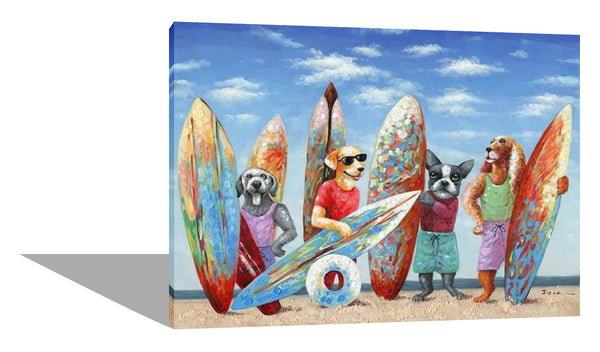 Surfing Pack of Dogs