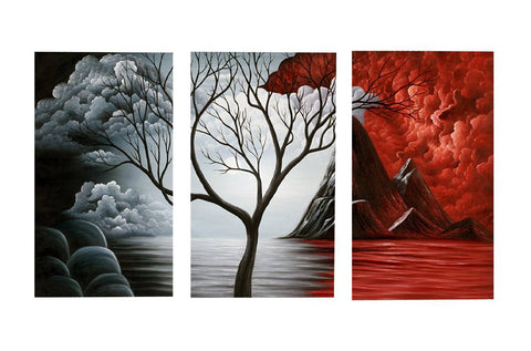Series of Black Gray and Red Mountain