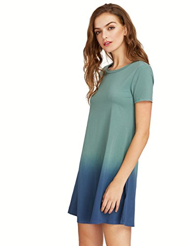 ROMWE Women's Tunic Swing T-Shirt Dress Short Sleeve Tie Dye Ombre Dress Multicolor M - Joy & Ethel