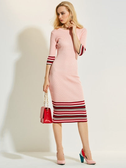 Mid-Calf Mid-Waist Stripe Women's Sweater Dress - Joy & Ethel