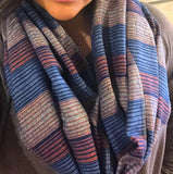 Flannel Infinity Scarf - Blue Orange Stripes