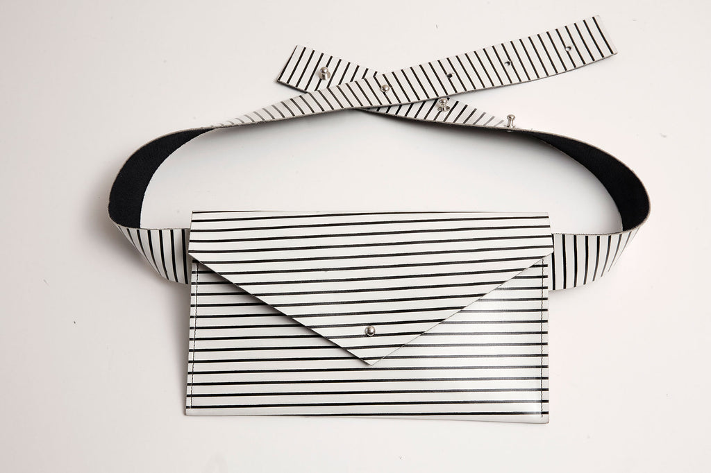 White Stripe Belt Bag
