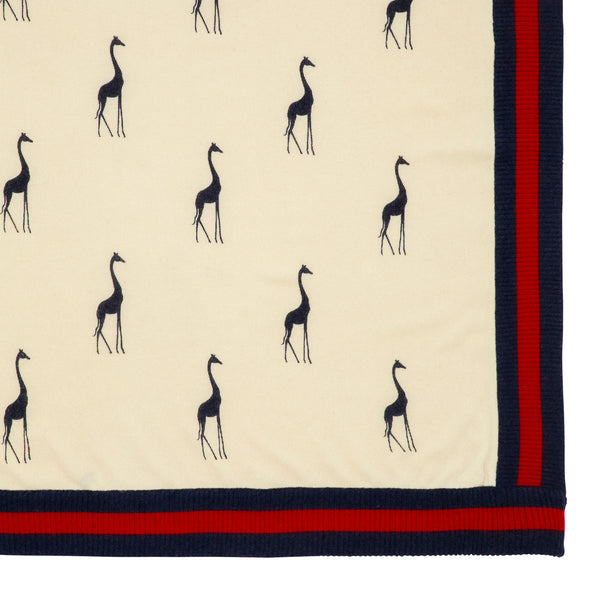 Oscar and Me Baby Cashmere Blanket Cream with Navy and Red Rib and Giraffe Print