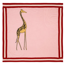 Oscar and Me Baby Cashmere Blanket Pink with Red and White Rib and Large Giraffe Print