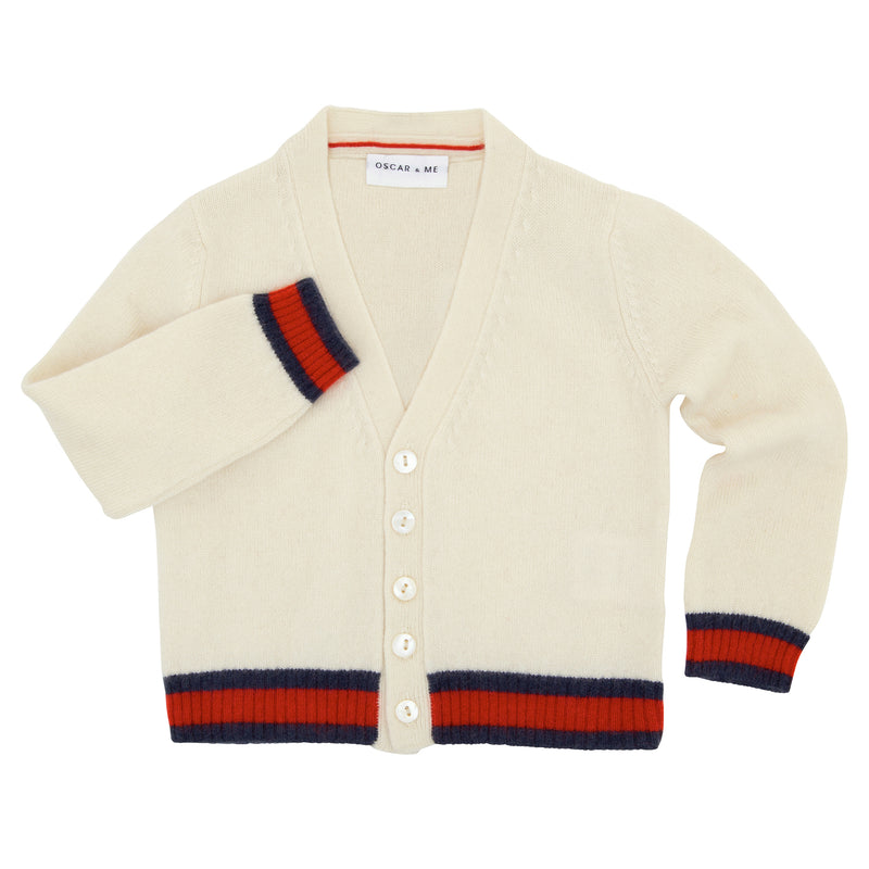 Oscar and Me Boys Cashmere Beanie Cream with Navy and Red Rib