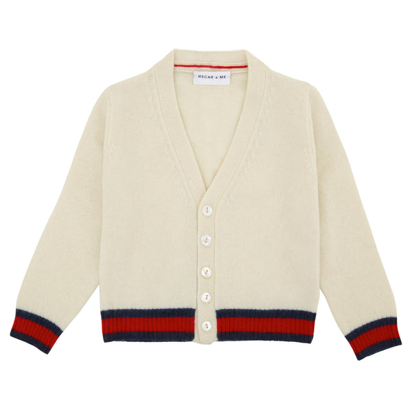 Oscar and Me Boys Cashmere Cardigan Cream with Navy and Red Rib