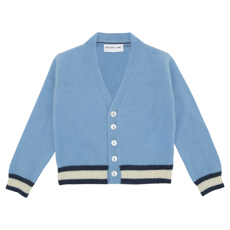 Oscar and Me Boys Cashmere Cardigan Light Blue with Navy and White Rib