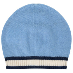 Oscar and Me Boys Cashmere Beanie Light Blue with Navy and White Rib