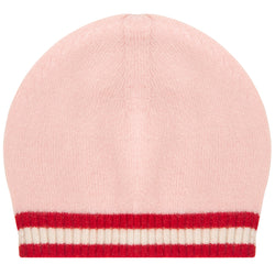 Oscar and Me Girls Cashmere Beanie Pink with Red and White Rib