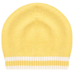 Oscar and Me Girls Cashmere Beanie Yellow with White Rib