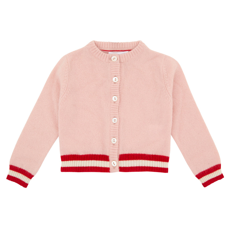 Oscar and Me Girls Cashmere Cardigan Pink with Red and White Rib