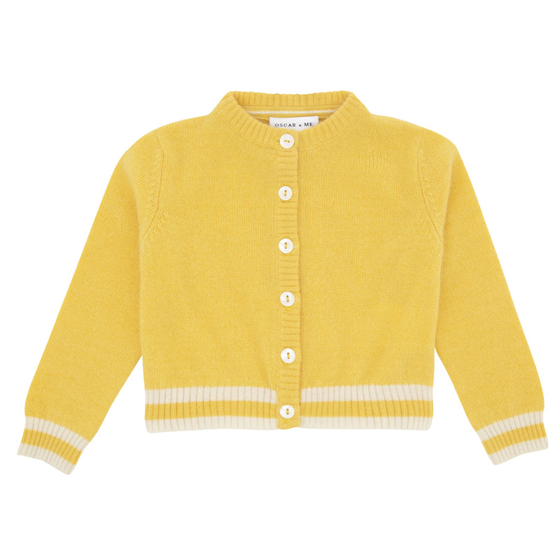 Oscar and Me Girls Cashmere Cardigan Yellow with White Rib