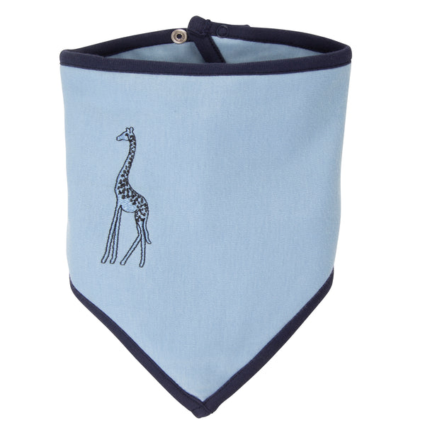 Oscar and Me Pima Cotton Bandana Bib Light Blue with Giraffe Embroidery