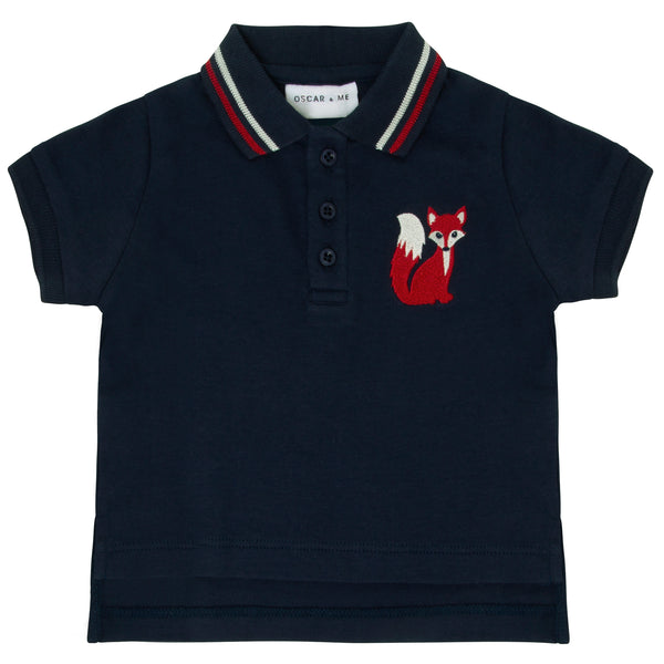 Oscar and Me Mr. Fox  Boys Pima Cotton Polo Navy with Fox Embroidery